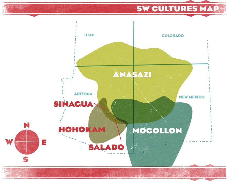 Major Anasazi Regions And Sites Manitou Cliff Dwellings - Archaeological sites in the southwest us map